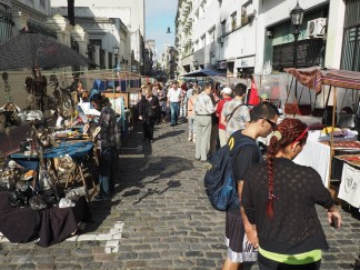 Buenos Aires' San Telmo market occupies a narrow human scale street