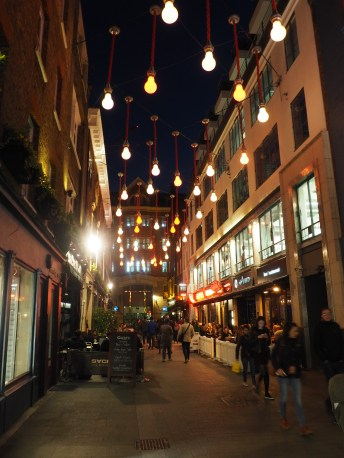 Night or day, London's Soho neighbourhood is very comfortable and inviting to walk around. The higher density row houses and fine grain retail invites people out onto the streets.