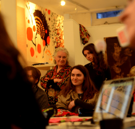 Sarah Campbell, Hannah Marshall and Pepe Lowe at a Slow Textiles Group event