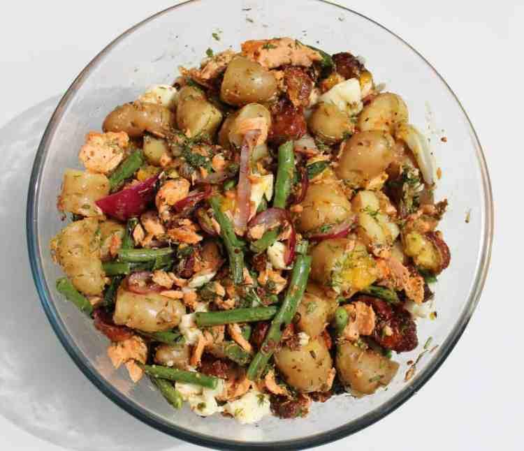 Trout and Chorizo Potato Salad