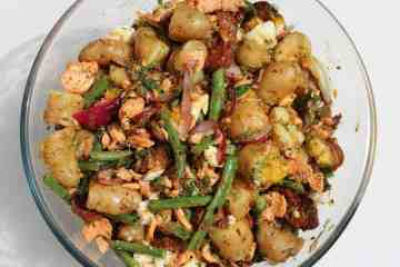 Trout and chorizo potato salad