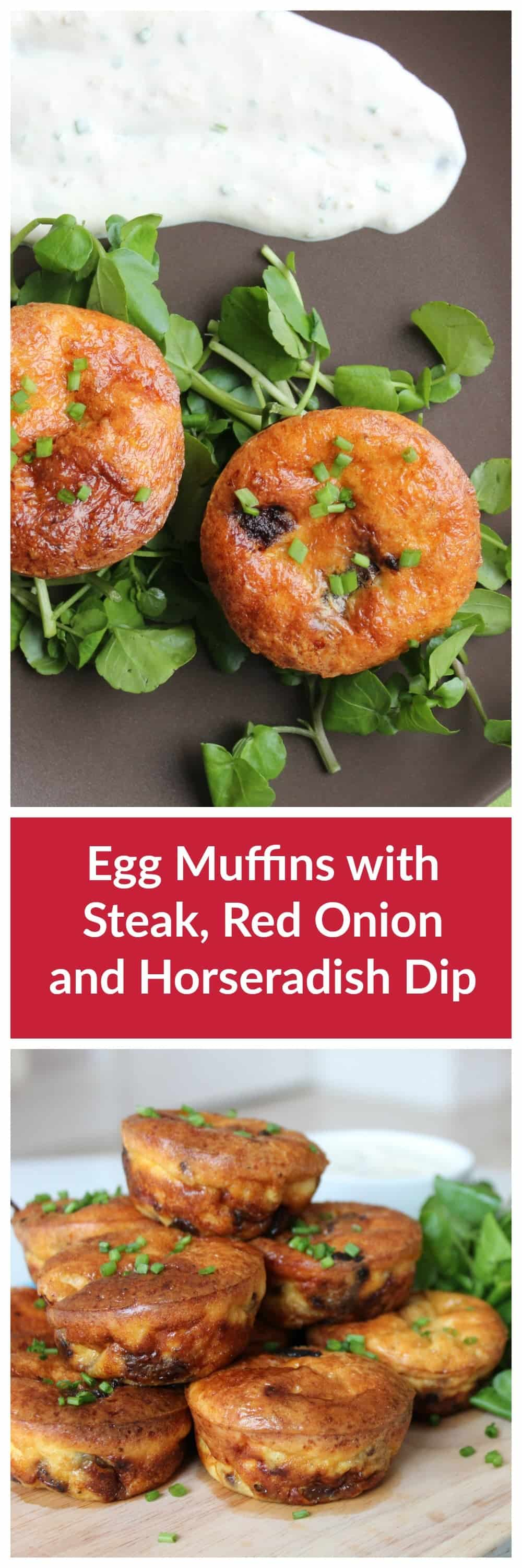 these steak and red onion egg muffins are packed full flavour and are a great for a small bite. Served with a horseradish dip