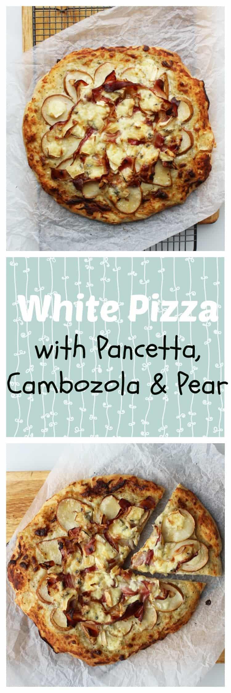 White pizza with pancetta, cambozola & pear
