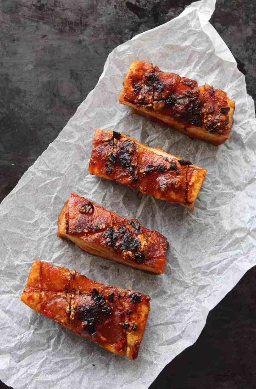Chilli and Cider Pork Belly slices on parchment