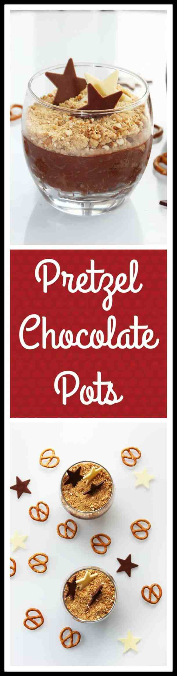 Pretzel Chocolate Pots are an easy no bake dessert. Creamy smooth chocolate topped with crunchy pretzel pieces
