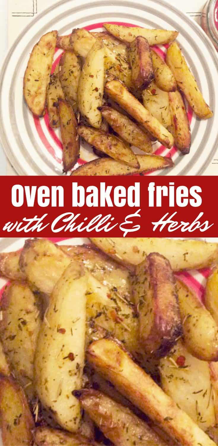 Oven baked fries served on a plate with tomato ketchup. Pinterest collage