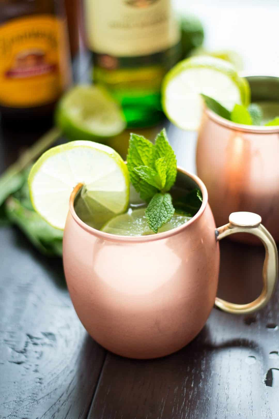 Irish mule cocktail, served in a copper mug