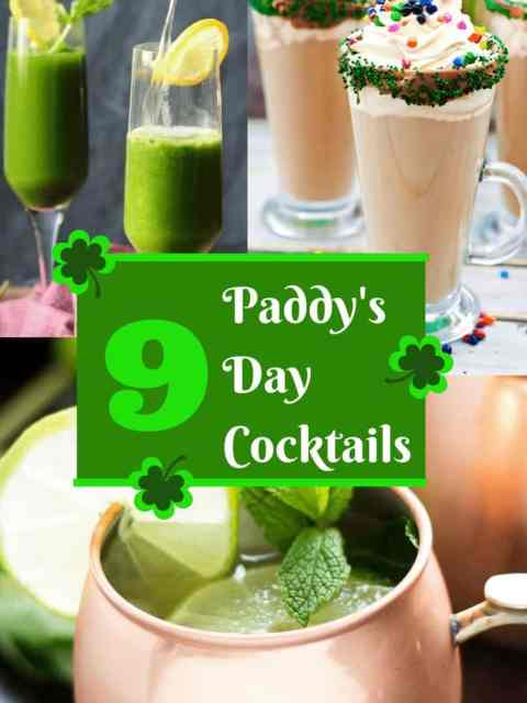 Pinterest collage for Irish themed cocktails