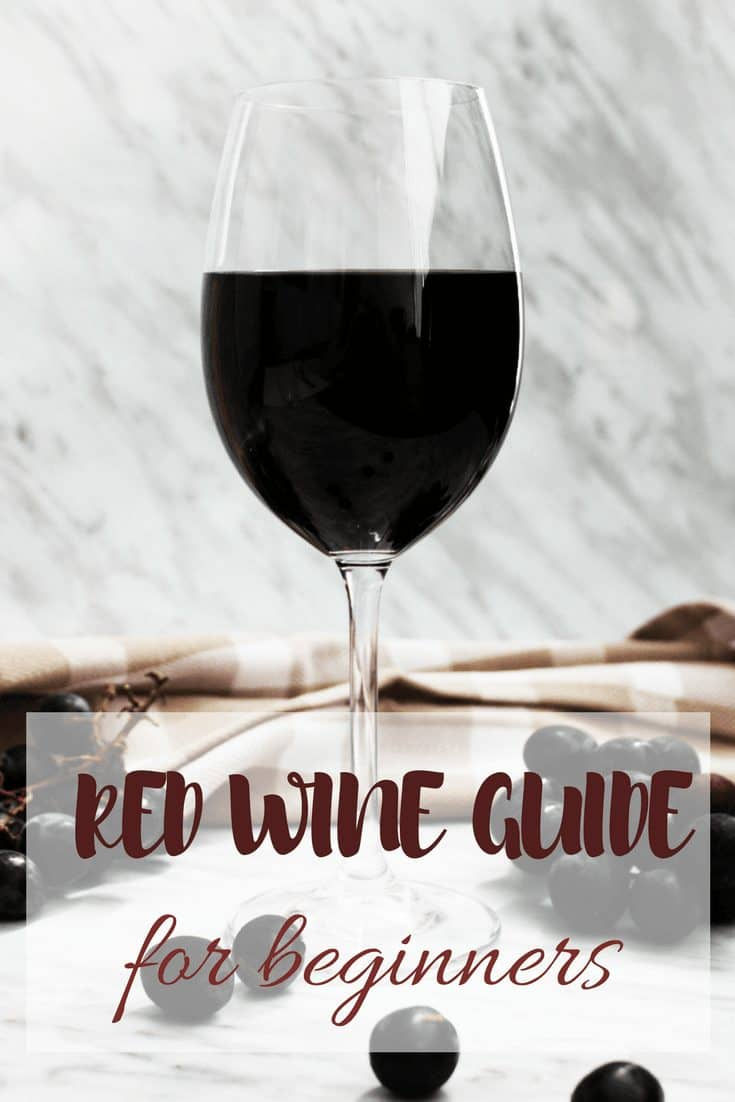 Pinterest image - Red Wine Guide for Beginners. A glass of red wine on a marble backdrop with bunches of grapes