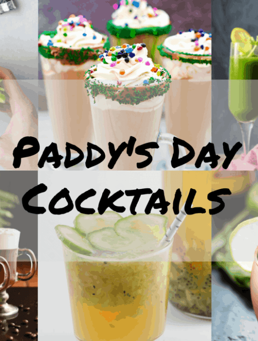Collage of Irish themed cocktails