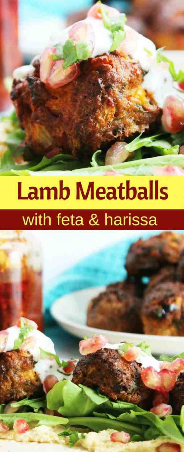 Pinterest collage for lamb meatballs