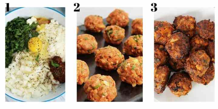 Three process shots to show how to make the dish