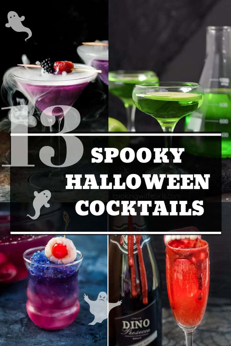Pinterest collage - 4 spooky halloween cocktails