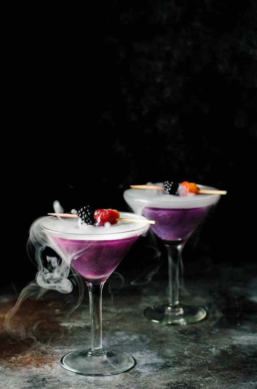A Witch's Heart cocktail - a spooky halloween cocktail finished with dry ice