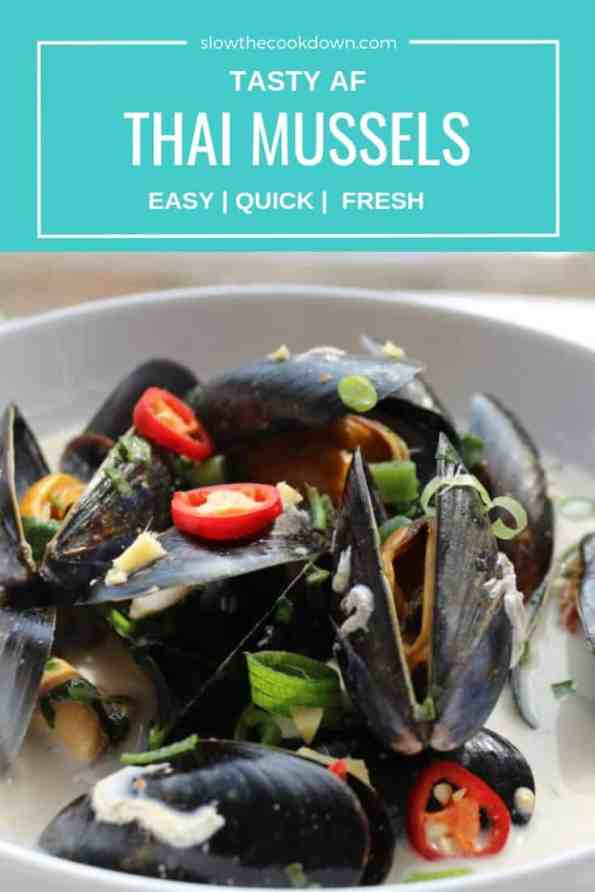 Pinterest image. Close up of Thai mussels with text