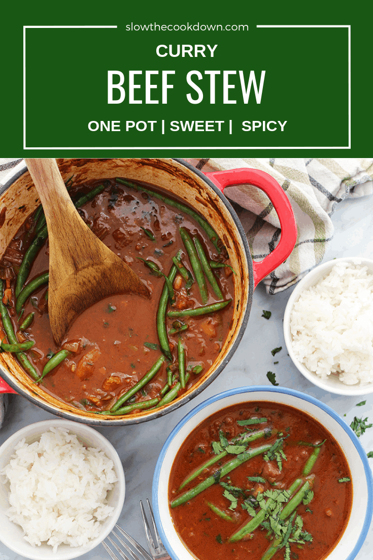 Pinterest Image. Top shot of beef curry stew with text overlay
