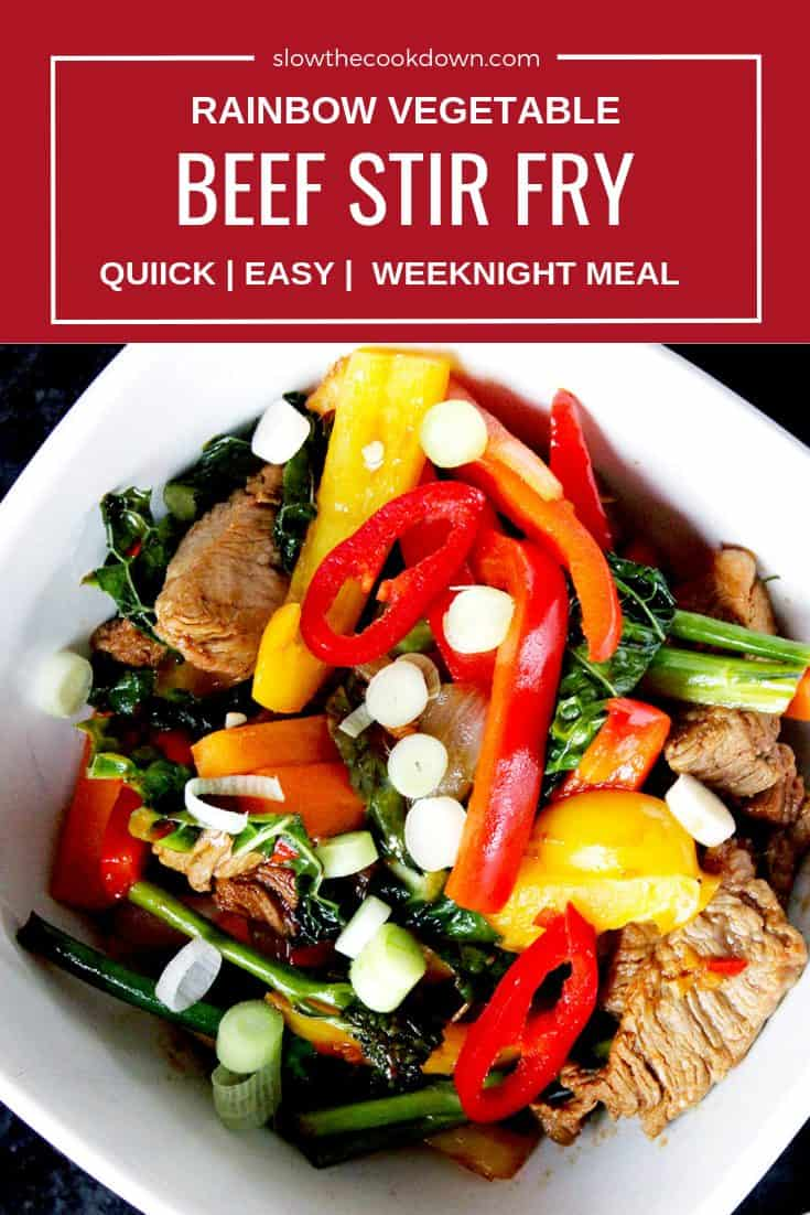 Pinterest image. Top down shot of beef stir fry with text overlay