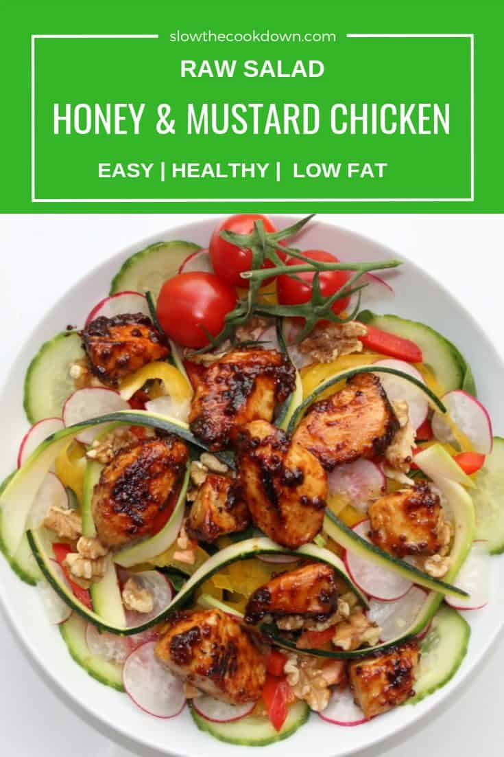 Pinterest image. Top shot of chicken salad with text overlay