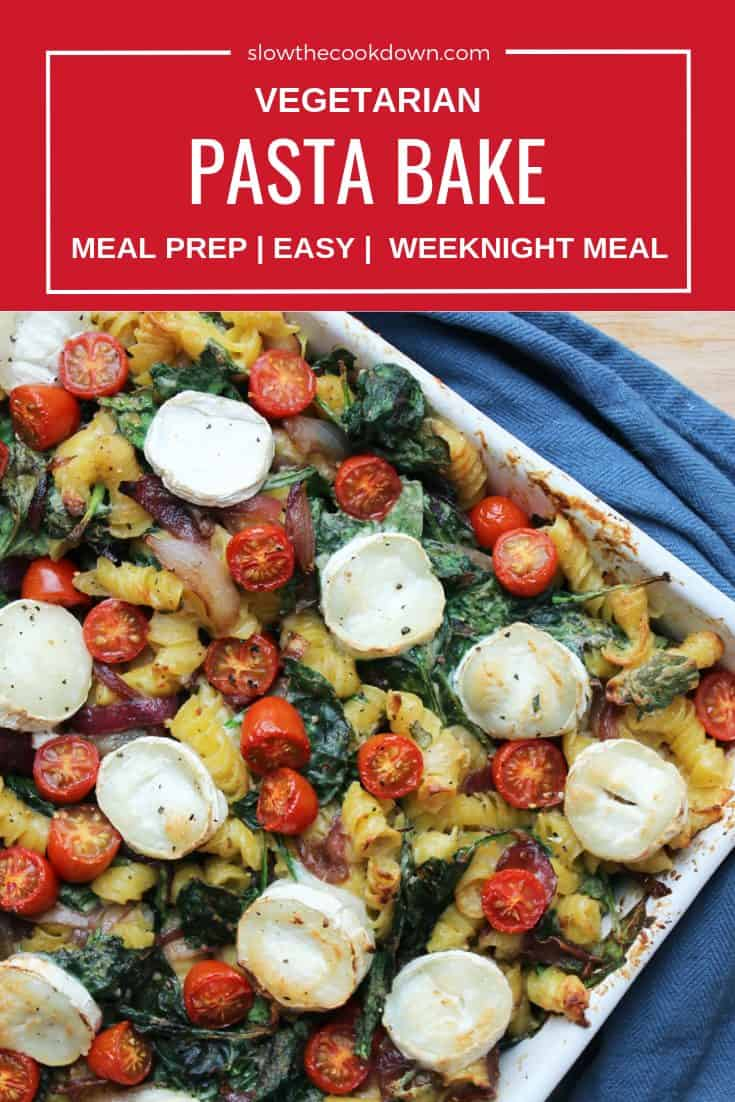 Pinterest image. Top shot of vegetarian pasta bake with text overlay