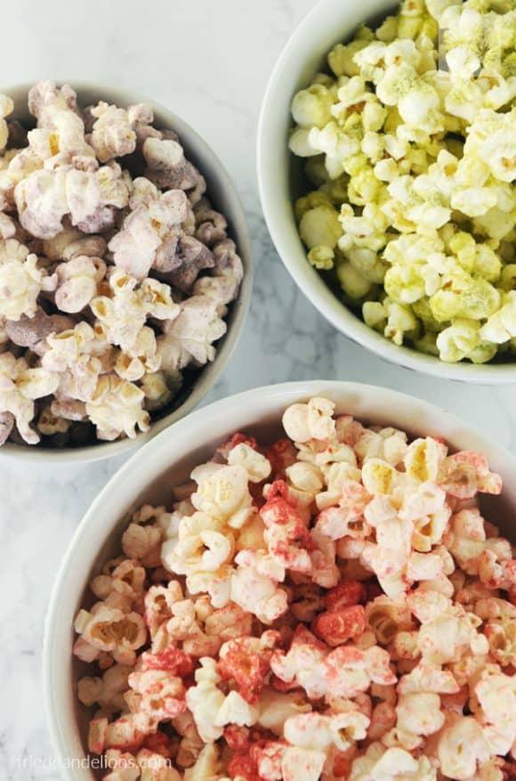 Three bowls of rainbow popcorn