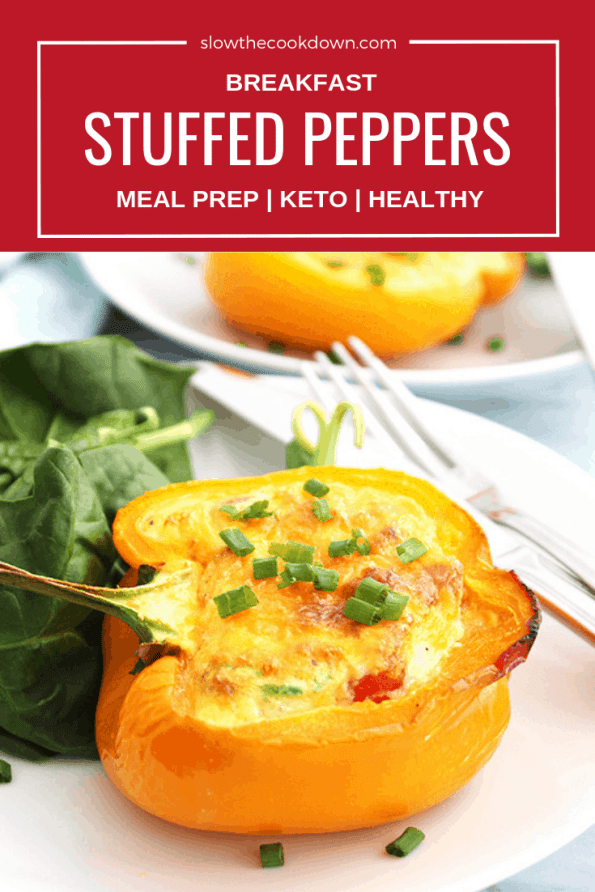 Pinterest image. Close up of a breakfast stuffed pepper on a white plate with text overlay