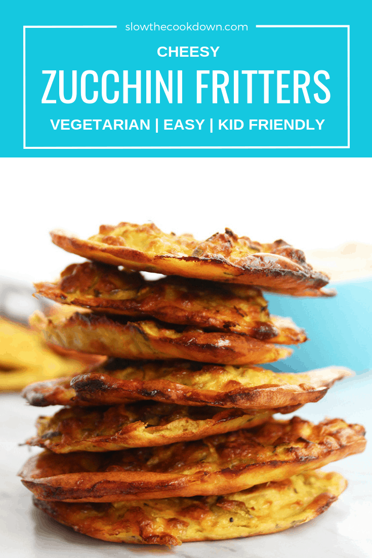 Pinterest image. A stack of Cheesy Baked Zucchini fritters with text overlay