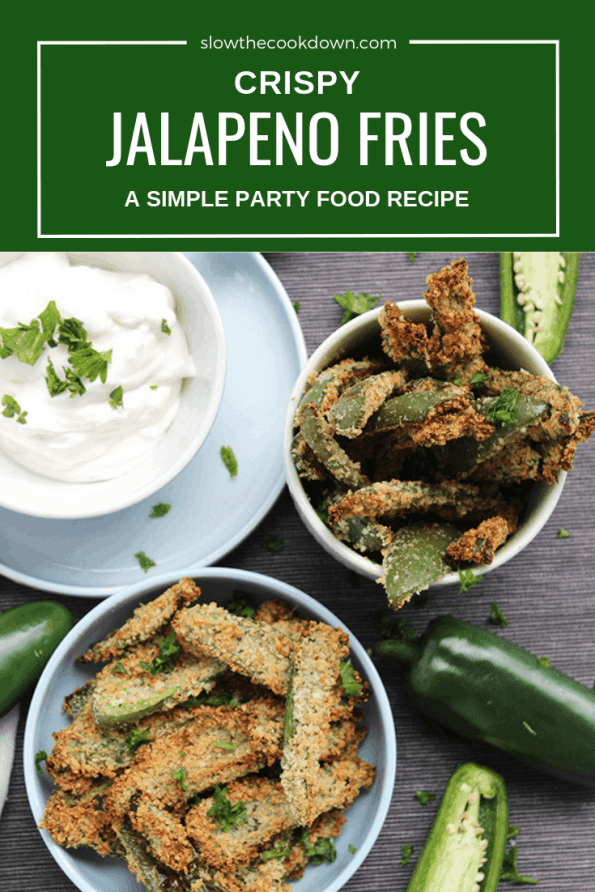Pinterest Image. Top shot of crispy jalapeno fries in a bows with text overlay.