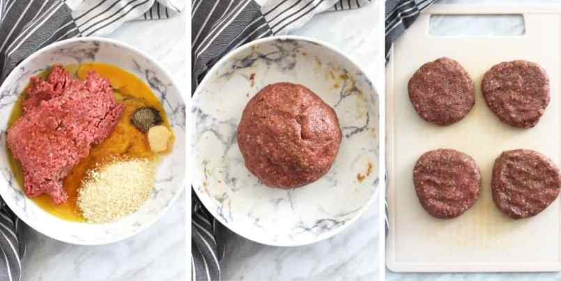 Process shots of how to make honey and truffle burgers. Raw ingredients rolled into a ball and shaped into patties