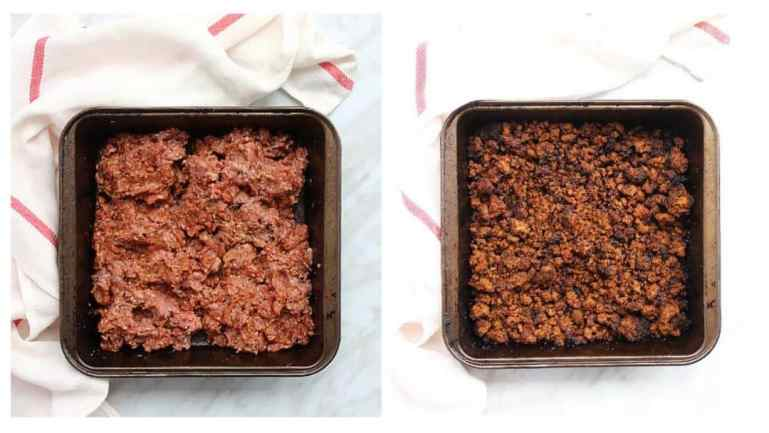Process shots. Ground beef before and after cooking