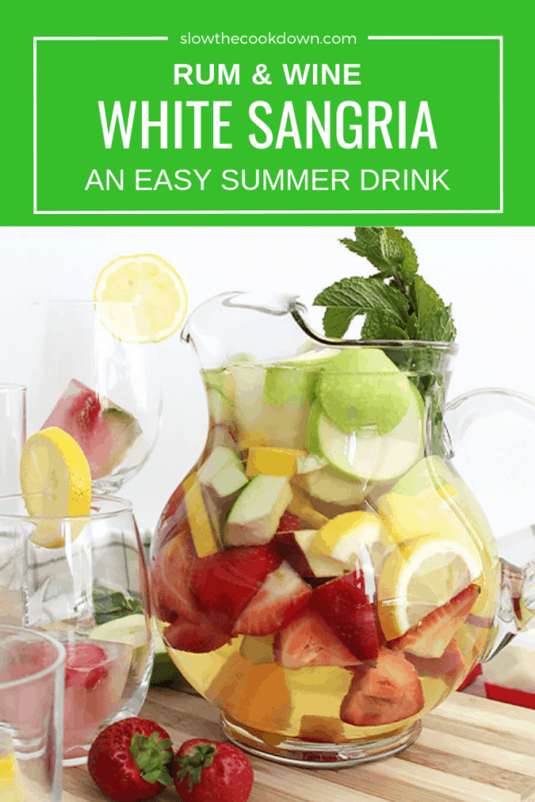 Pinterest image. A jug of white wine sangria with text overlay