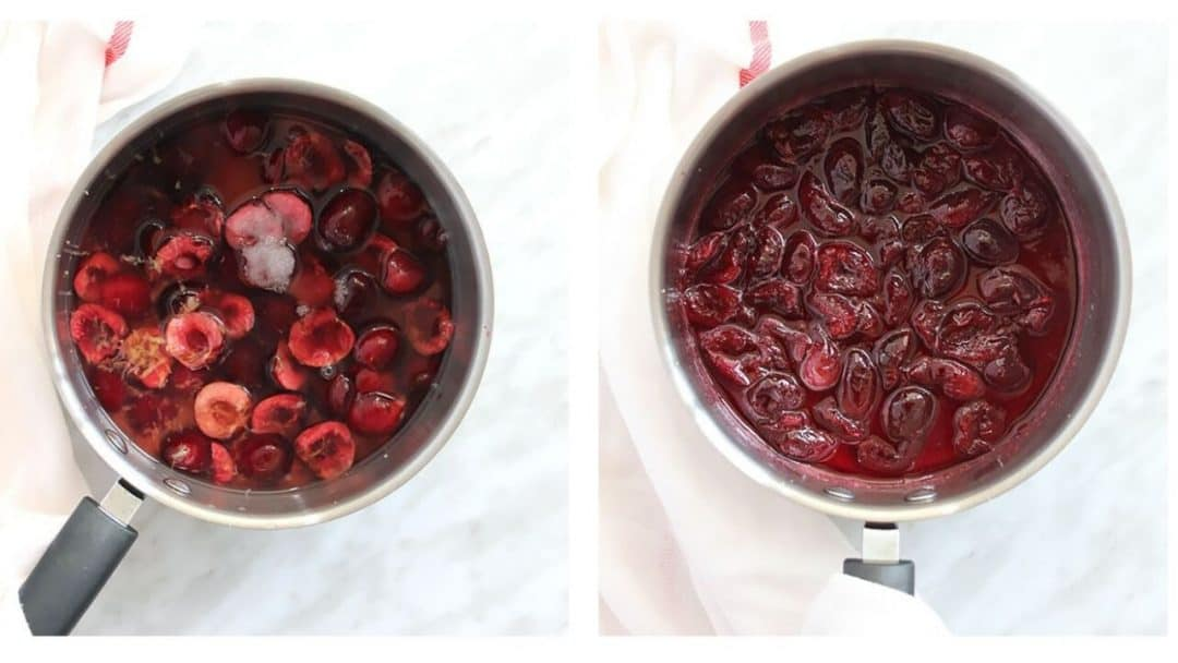 Cherries before and after cooking
