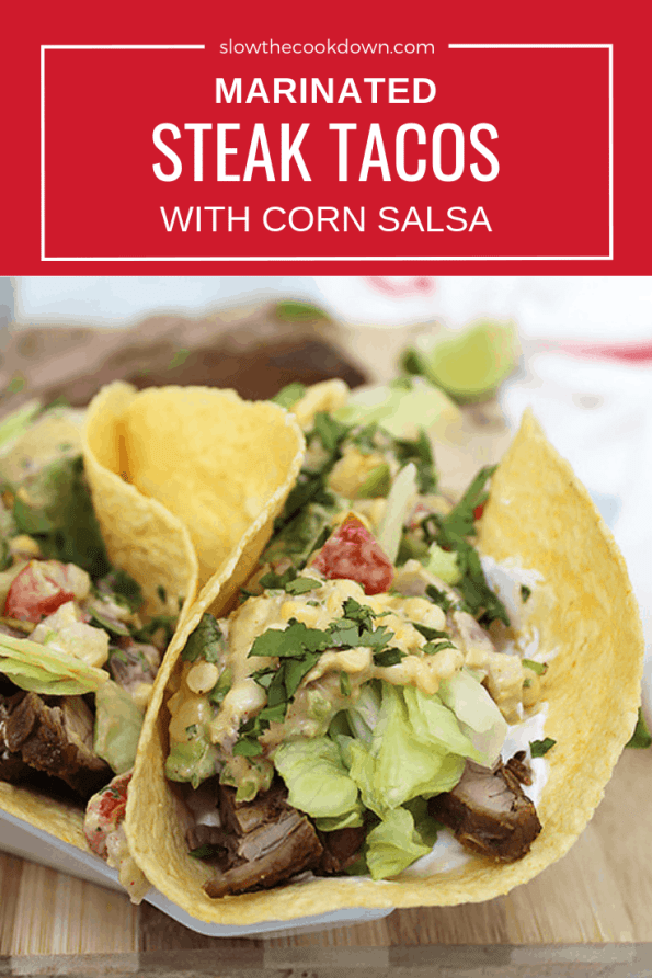 Pinterest image. A steak flank taco with text overlay