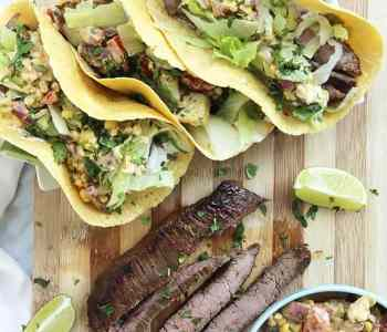 Flank Steak tacos on a chopping board