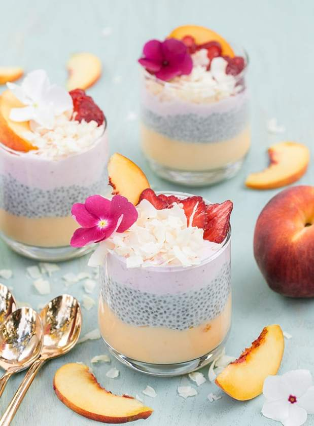 Coconut chia pudding in two glasses