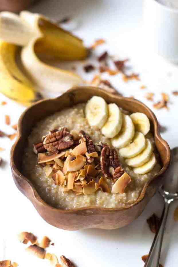 coconut oatmeal in a brown bowl