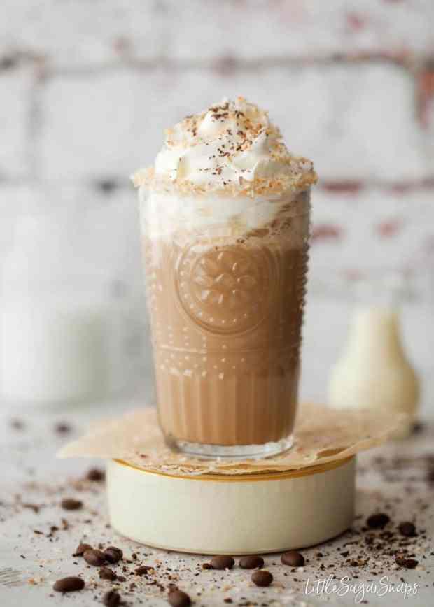 Coconut Iced Coffee in a glass mug