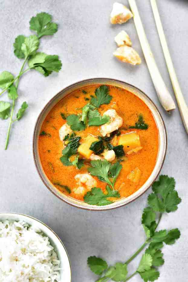 Thai red curry in a white bowl