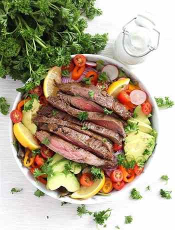 Steak salad before being dressed