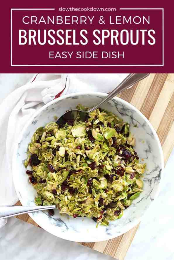 Pinterest graphic. Sauteed Brussels sprouts with text overlay