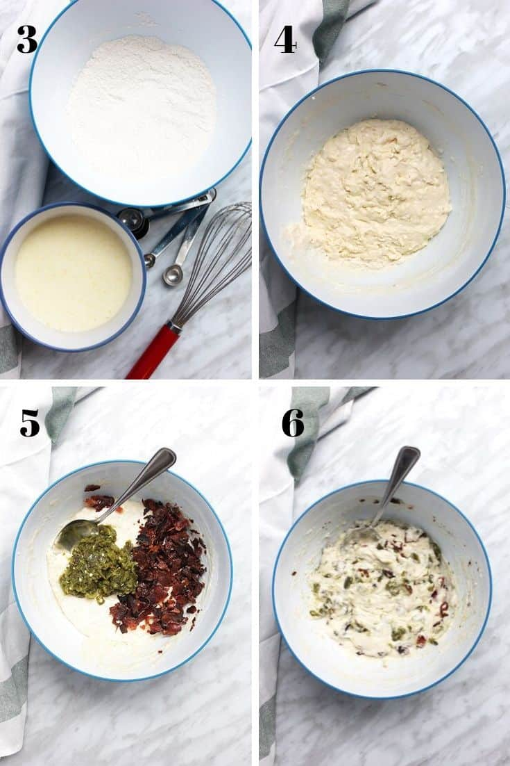 Four photographs to show how to make the pancake batter