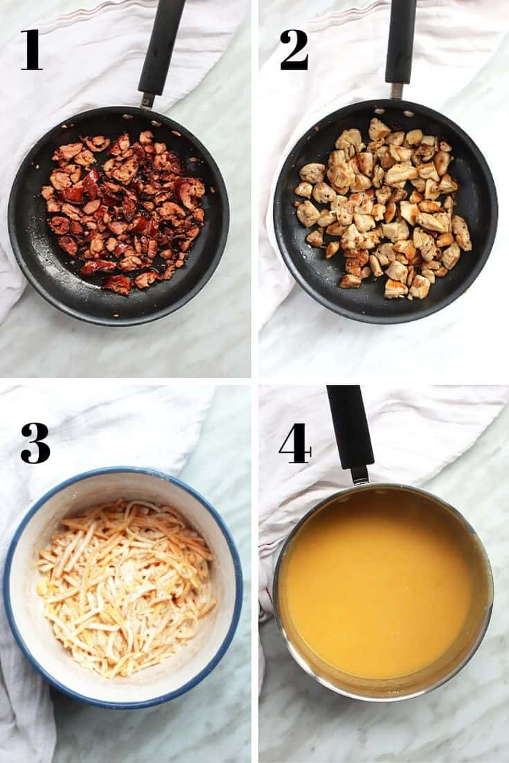 Four shots to show the fried chicken and chorizo and how to make the cheese sauce
