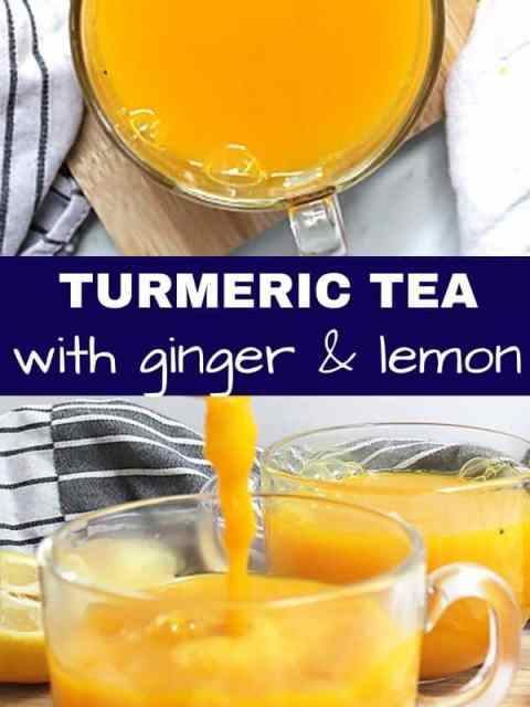 Pinterest image, two photos of turmeric tea with a text separator.