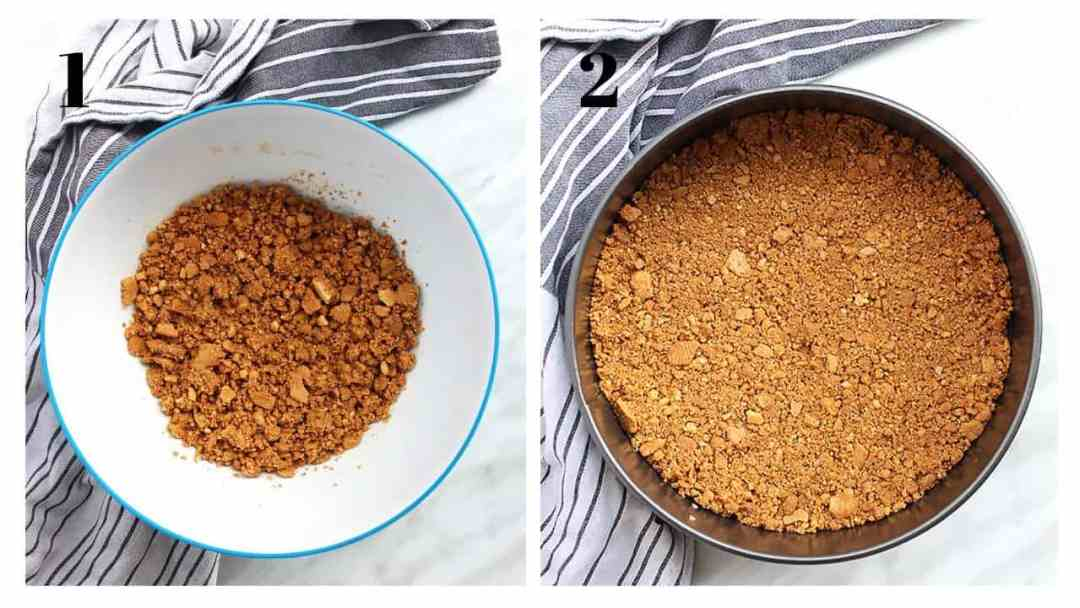 Two shots to show how to make the cheesecake base