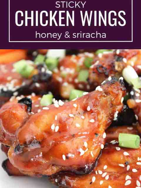 Pinterest graphic. Photo of sticky chicken wings with text overlay