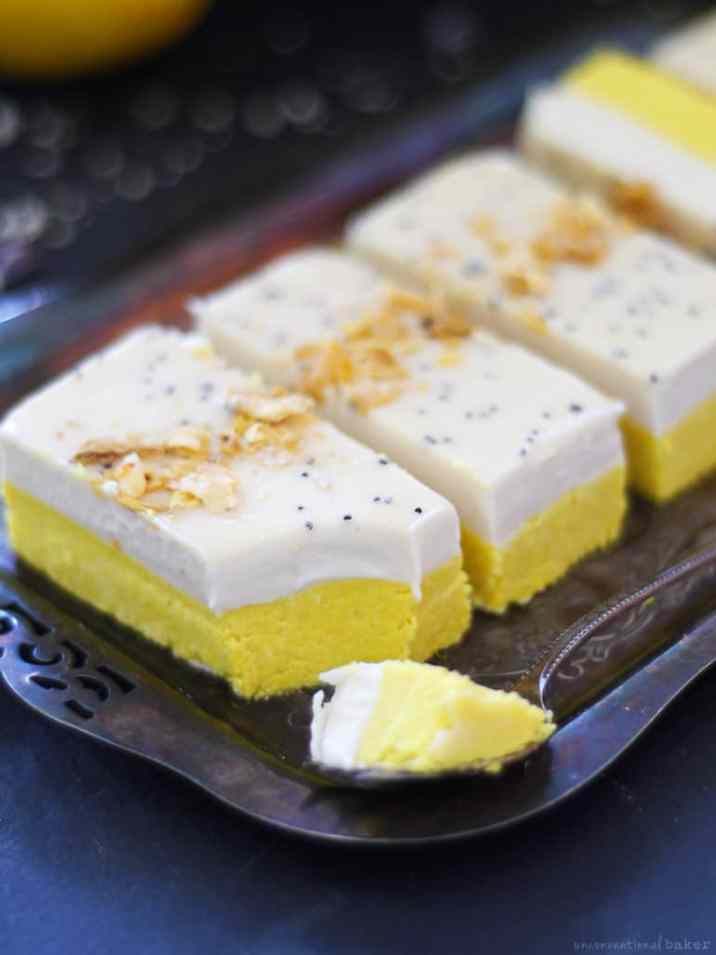 Lemon Turmeric Bars on a platter