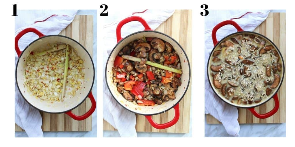 Three shots to show how to make the dish in a dutch oven
