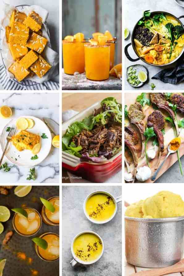A collage of nine different turmeric recipes