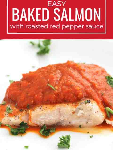 Pinterest graphic. A side view of the salmon topped with sauce with a text overlay