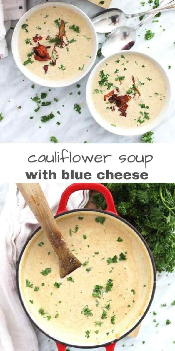 Pineterst graphic. Two photos of roasted cauliflower soup with text separator