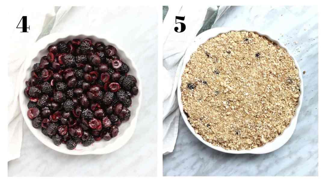 Two process shots. The fruit added to the pastry dish and then with the topping added